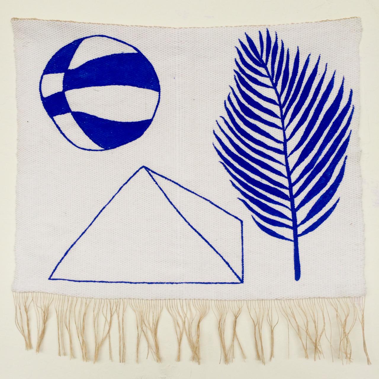Hanan Sharifa, Ball is Life in Morocco, hand-woven cotton and silk, hand-painted acrylic, 12 x 11.