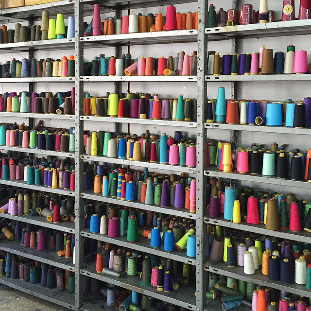 Thread from the Arja textile factory in Beit Jala
