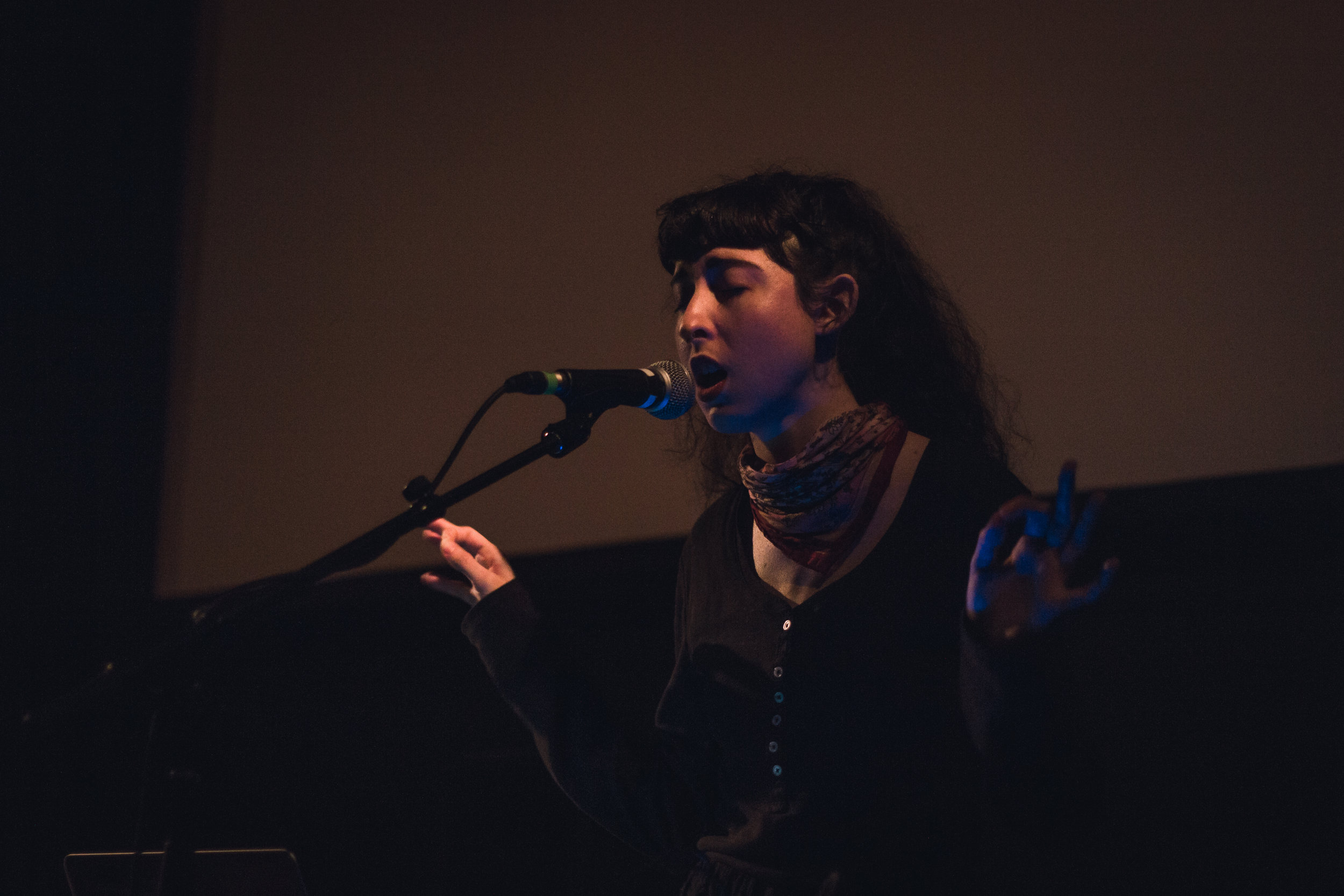 Image of Alamank performing at Dardishi Festival 2019 at CCA Glasgow. Photography by Noor Abdel-Razik