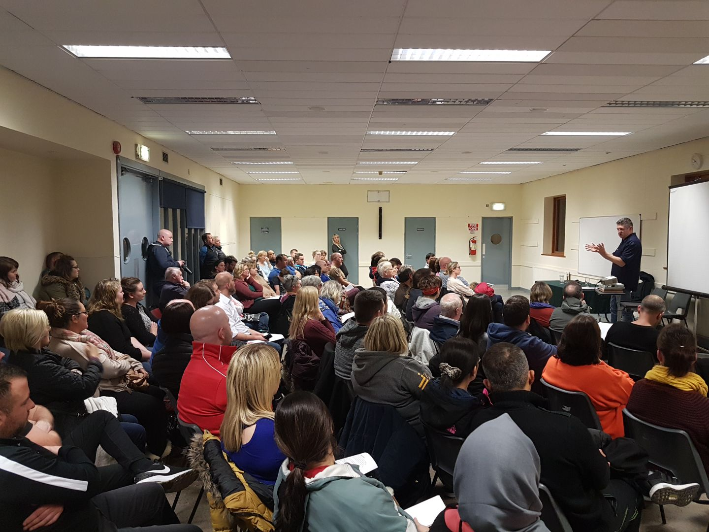 Addressing a public meeting in Taney Parish Centre about the Central Mental Hospital, 2017