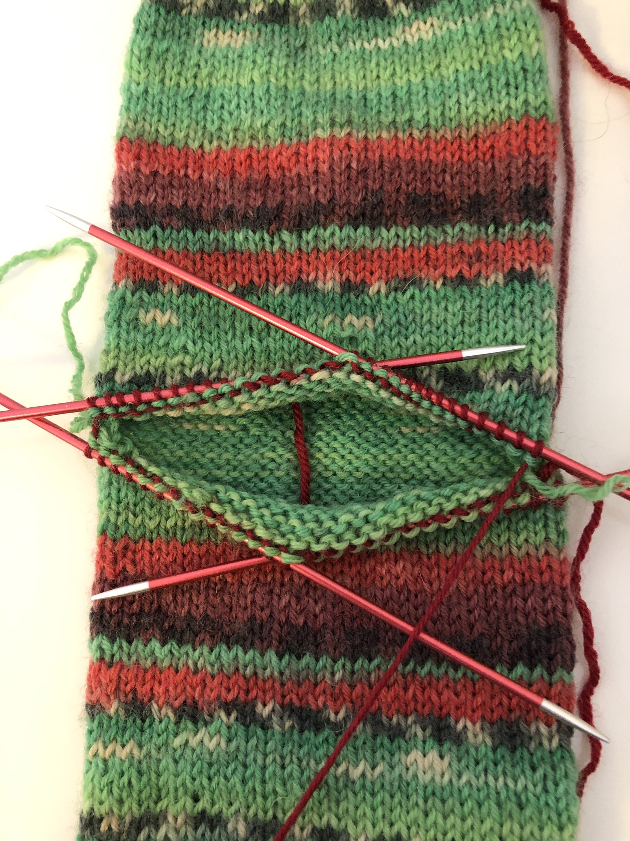 Step Five - Then I rearranged the stitches onto 4 dpns and then knitted the same rounded toe pattern for the heel.