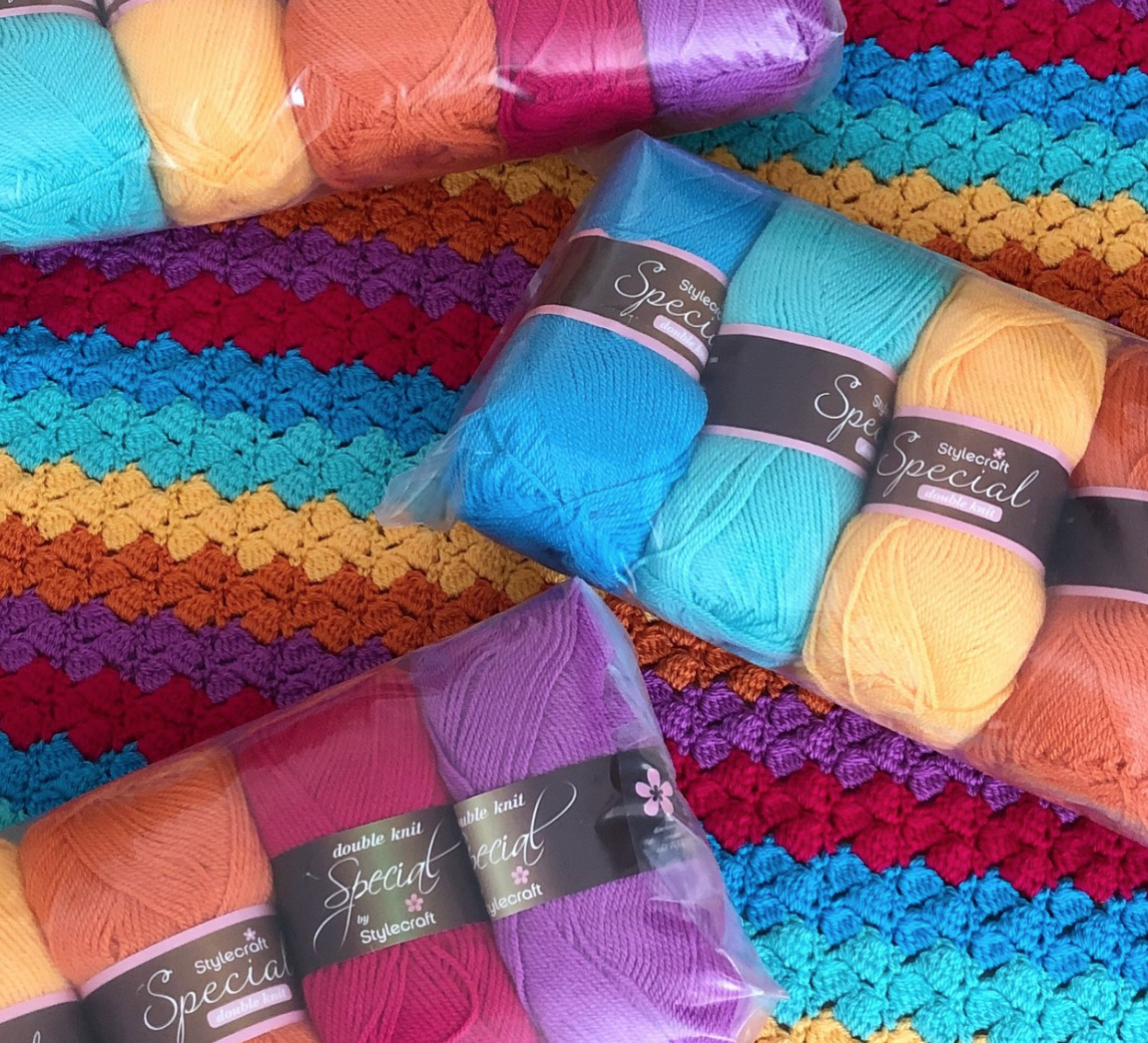 Bright Blanket - Crochet kits ready for Spring Into Wool