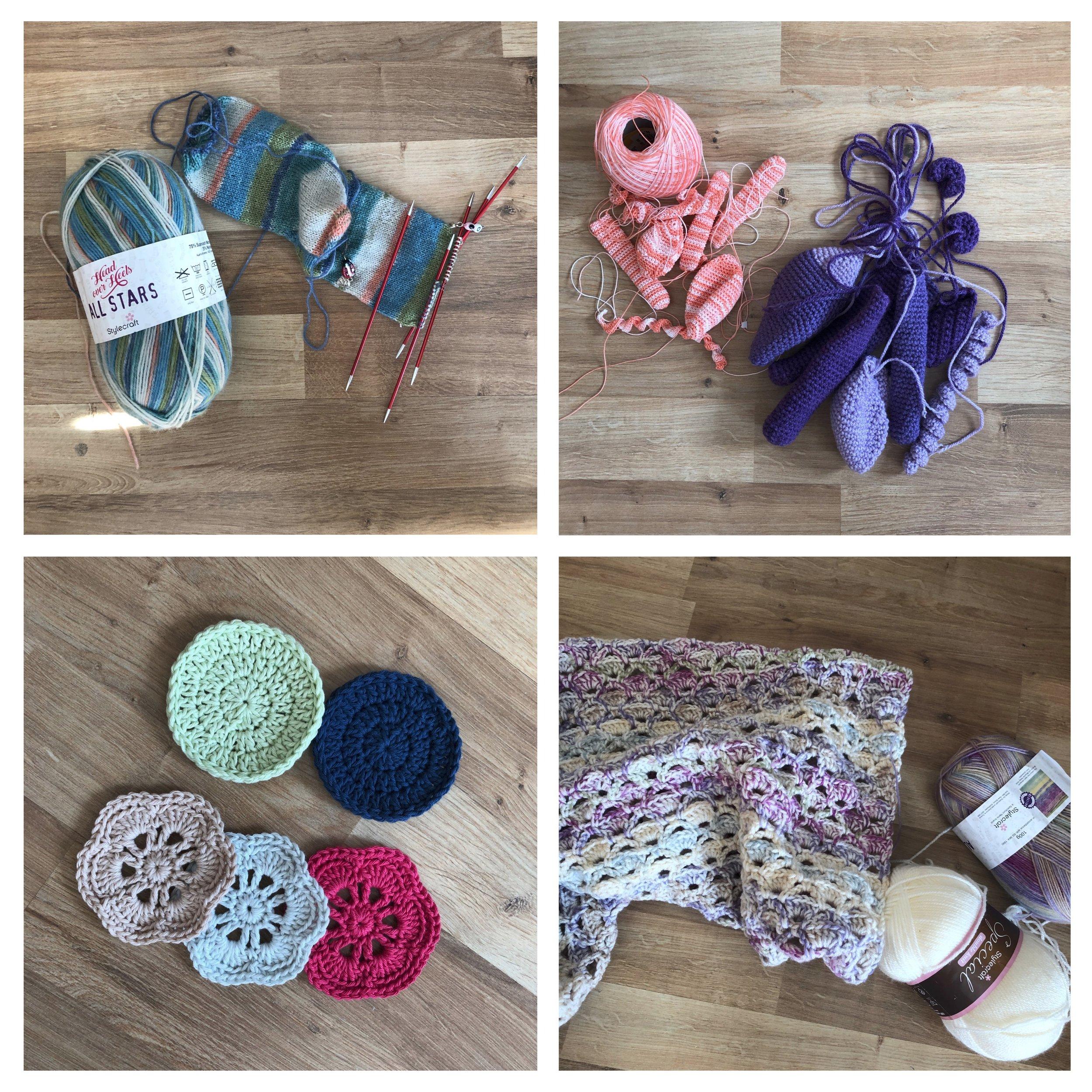 Socks, crochet monkey, face scrubbies, and new blanket pattern