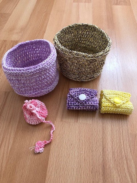 Crochet yarn bowls, cable tidies and   tooth fairy bags