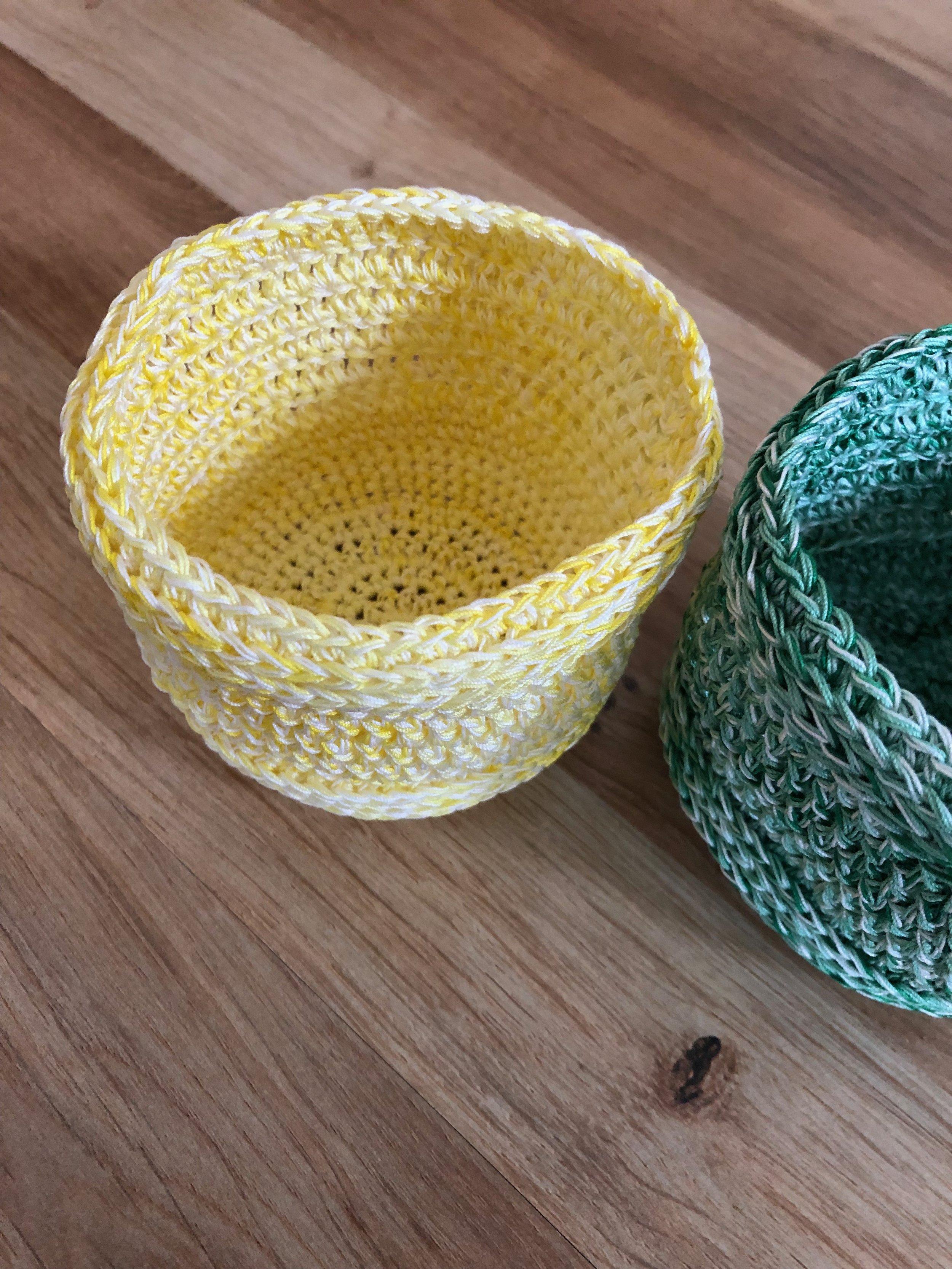 Crochet cotton yarn bowls