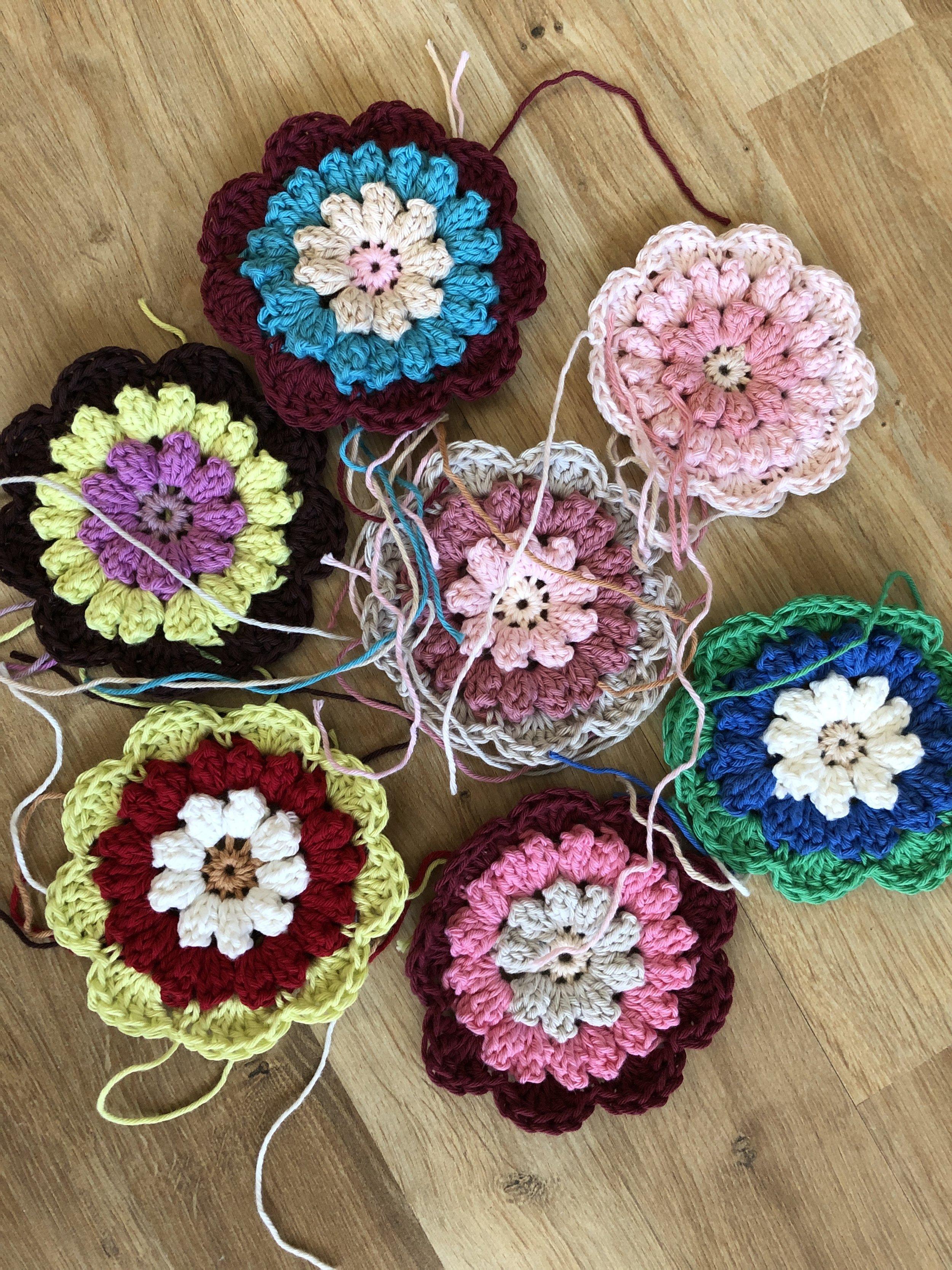 Crochet face scrubbies made using crochet cotton