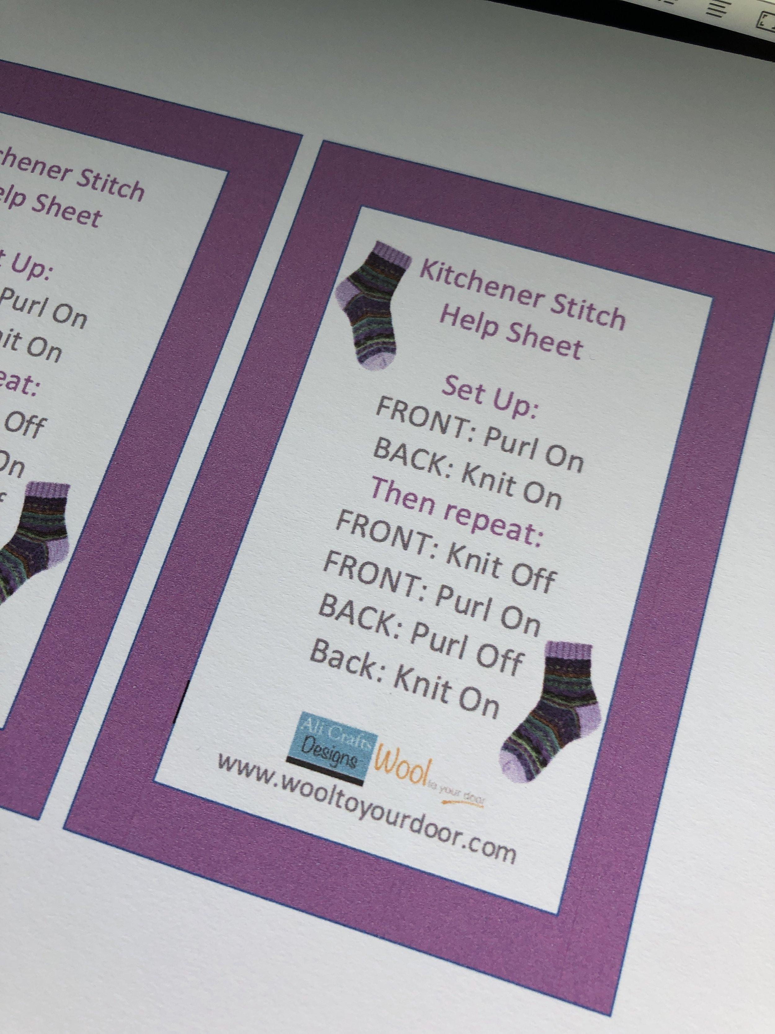 Kitchener stitch help sheet