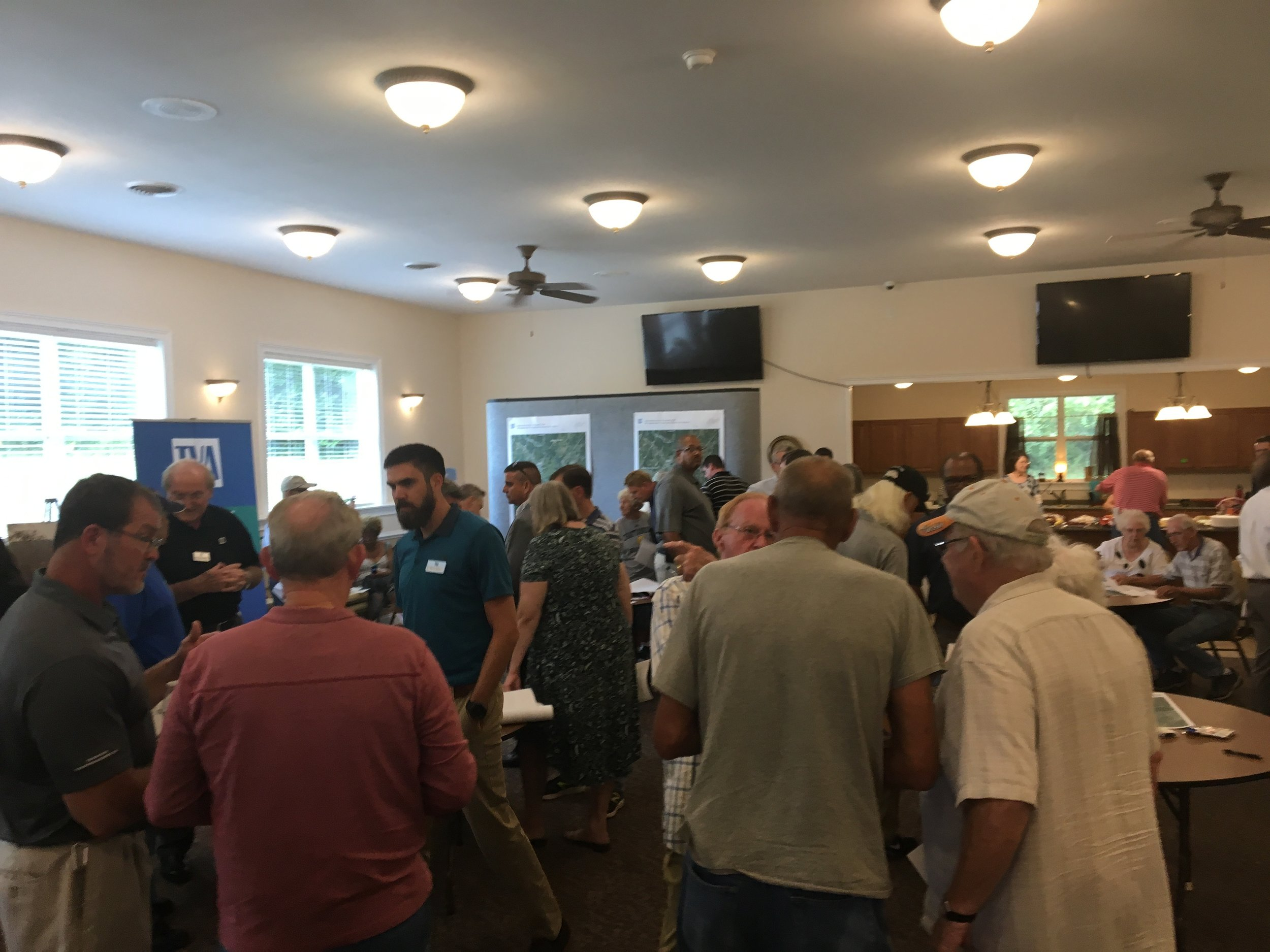 Georgetown residents turned out in mass in August 2018 in Georgetown to talk with TVA. A total of 74 invitations were sent out to property owners potentially impacted by the secret, $300 million power control center, and more than 150 turned out! TVA has refused to hold another meeting since.