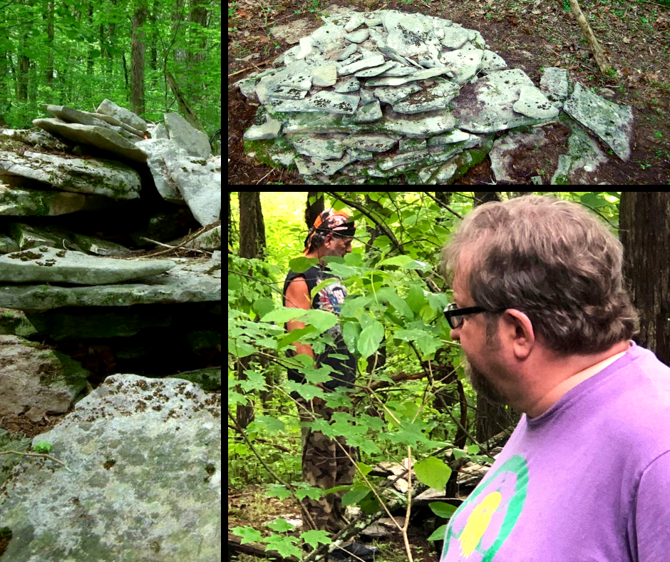 Dr. Troy Smith examines the cairns in Georgetown, TN in June 2019.