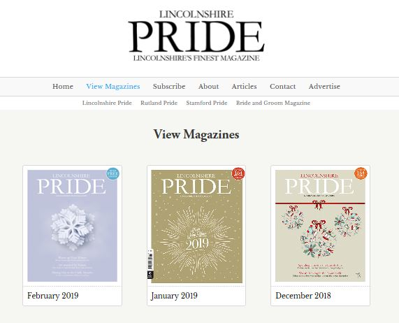 http://www.pridemagazines.co.uk/lincolnshire/view-magazines  Please see our lovely article in the December 2018 magazine.