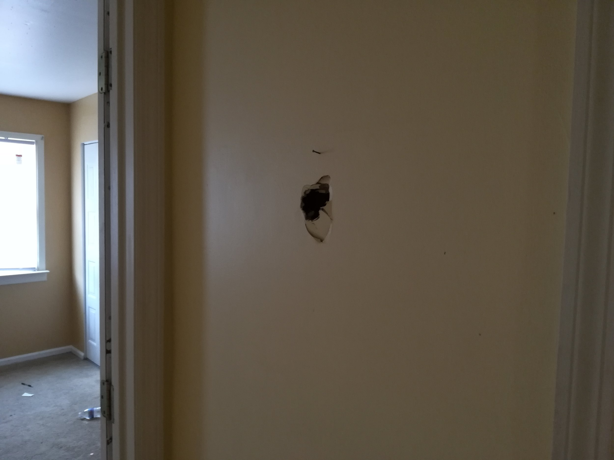 Patched hole in drywall