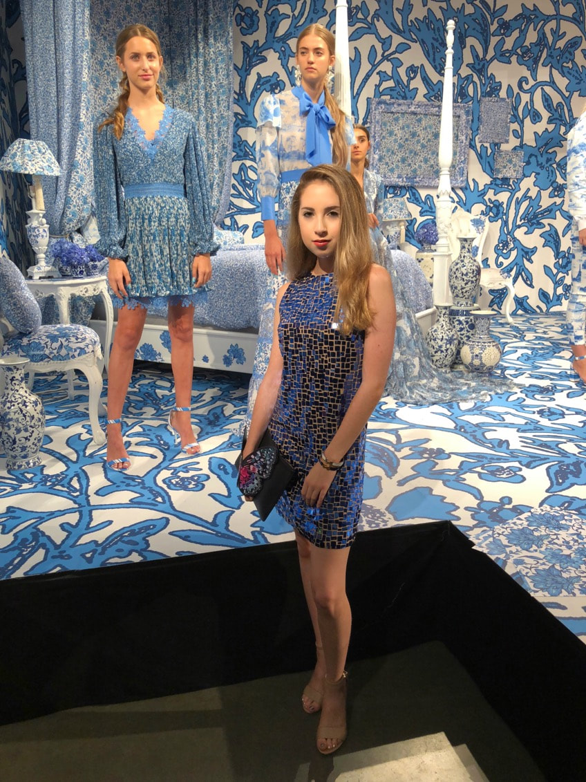 Me wearing the Clyde Dress from Alice + Olivia