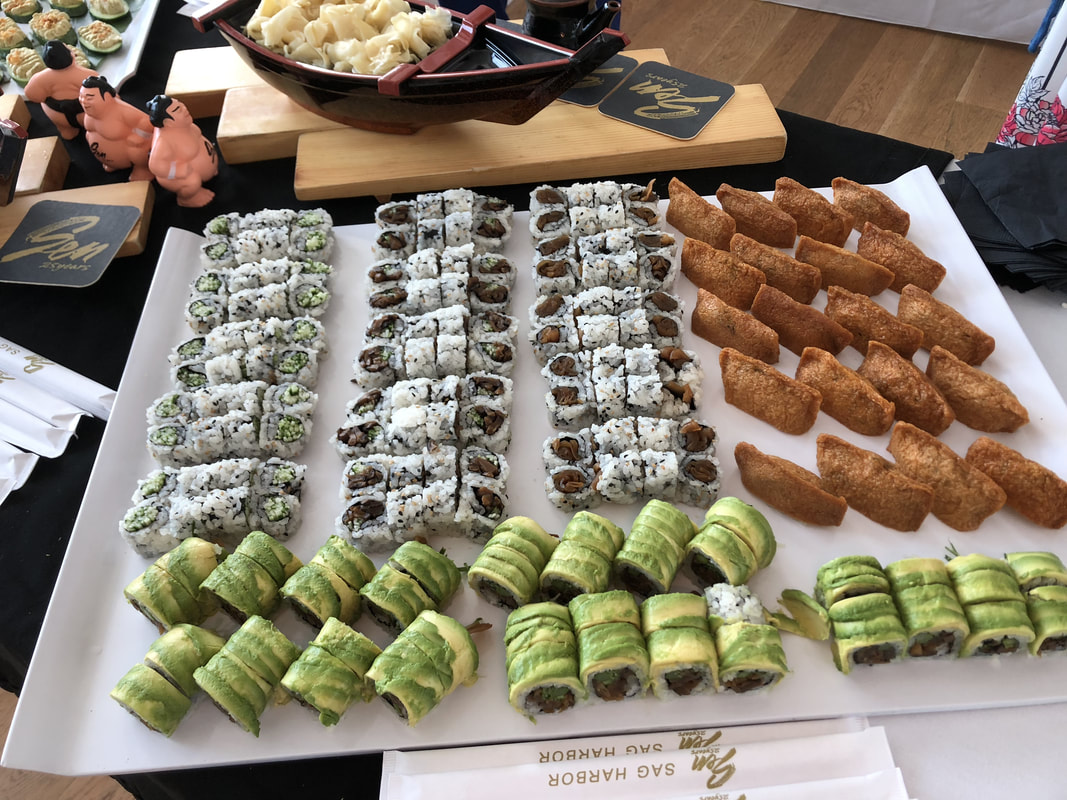 The selection of sushi