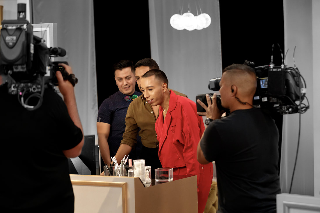 A behind-the-scenes shot of Bryan on Glam Masters