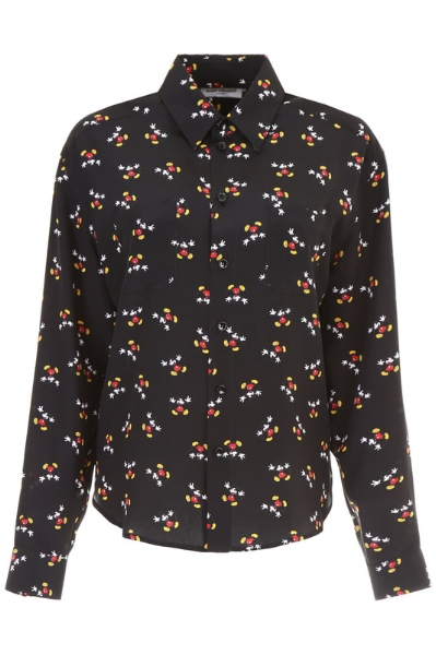 Shirt in Crêpe de Chine with Mickey Mouse Print