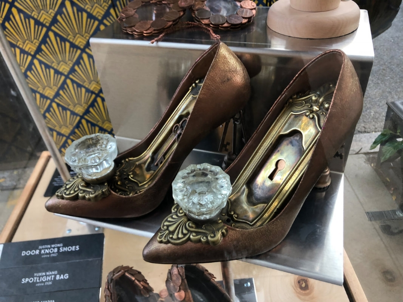 Cinderella might need to reconsider her glass slippers; these heels--adorned with a bronze-dusted exterior, rusted keyhole in the insole, and crystalized doorknob on the toe box--look like they came straight out of a fairytale.