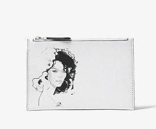6. Michael Kors Collection Bancroft Portrait Print Calf Leather Pouch