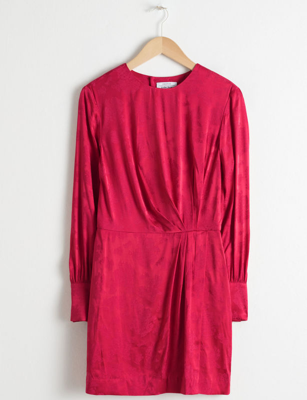 3. & Other Stories Gathered Satin Mini Dress in Red