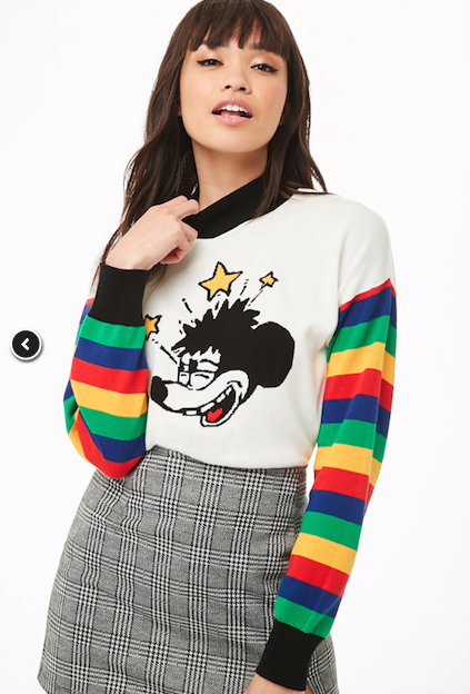 Mickey Mouse Graphic Striped-Sleeve Sweater