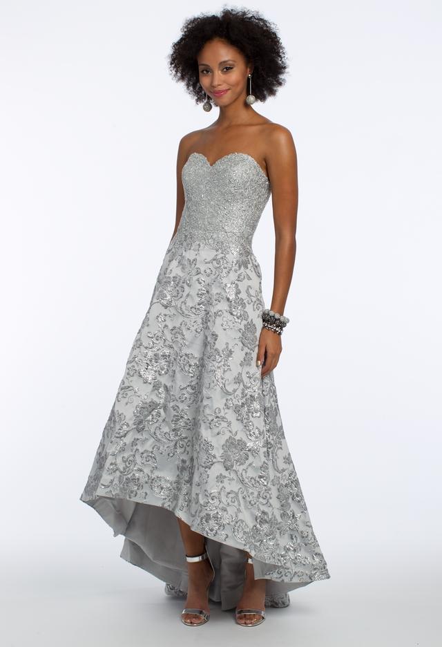 Camille La Vie Strapless Hi-Low Brocade Dress
