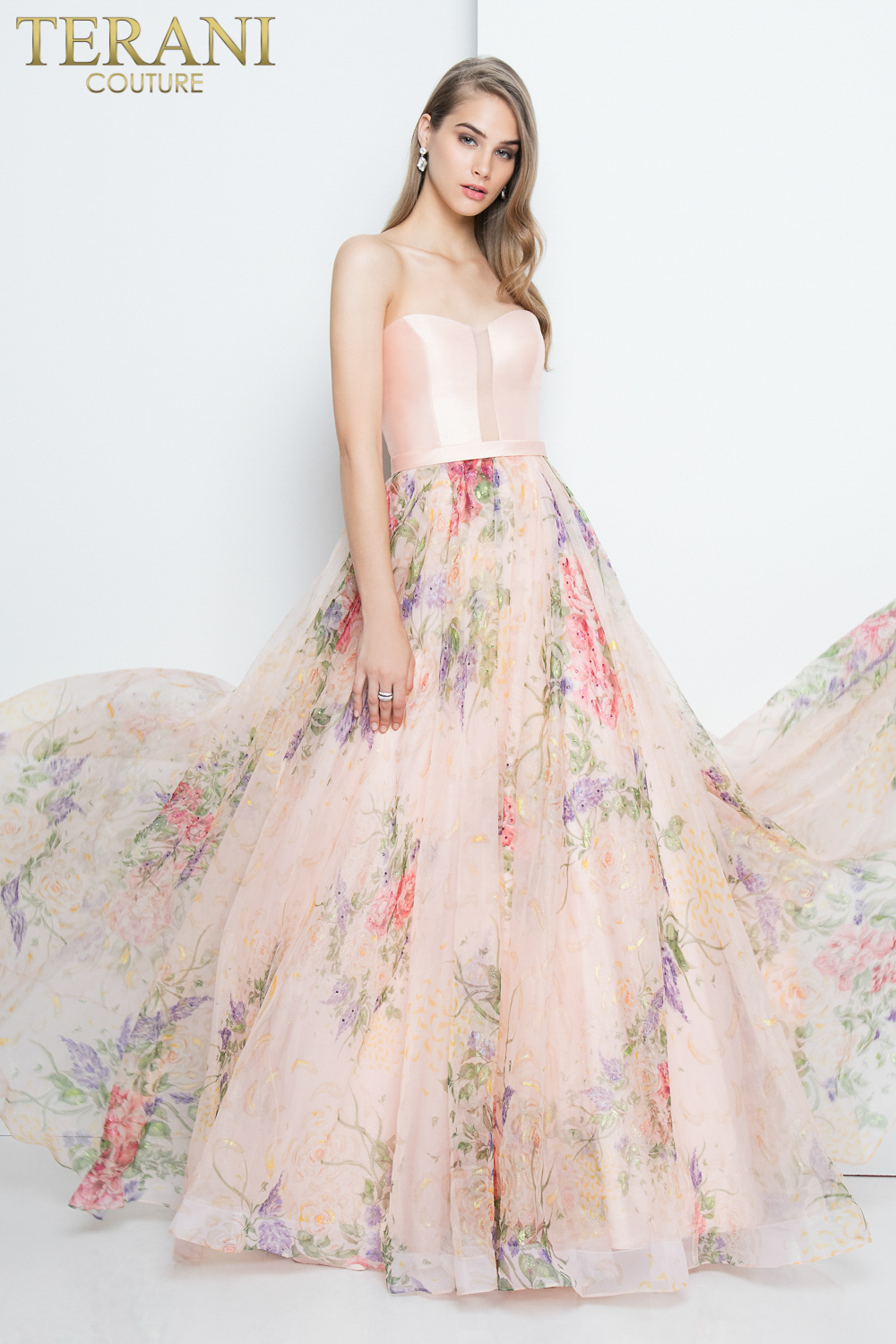 Terani Couture Floral Strapless Organza Ball Skirt Prom Dress