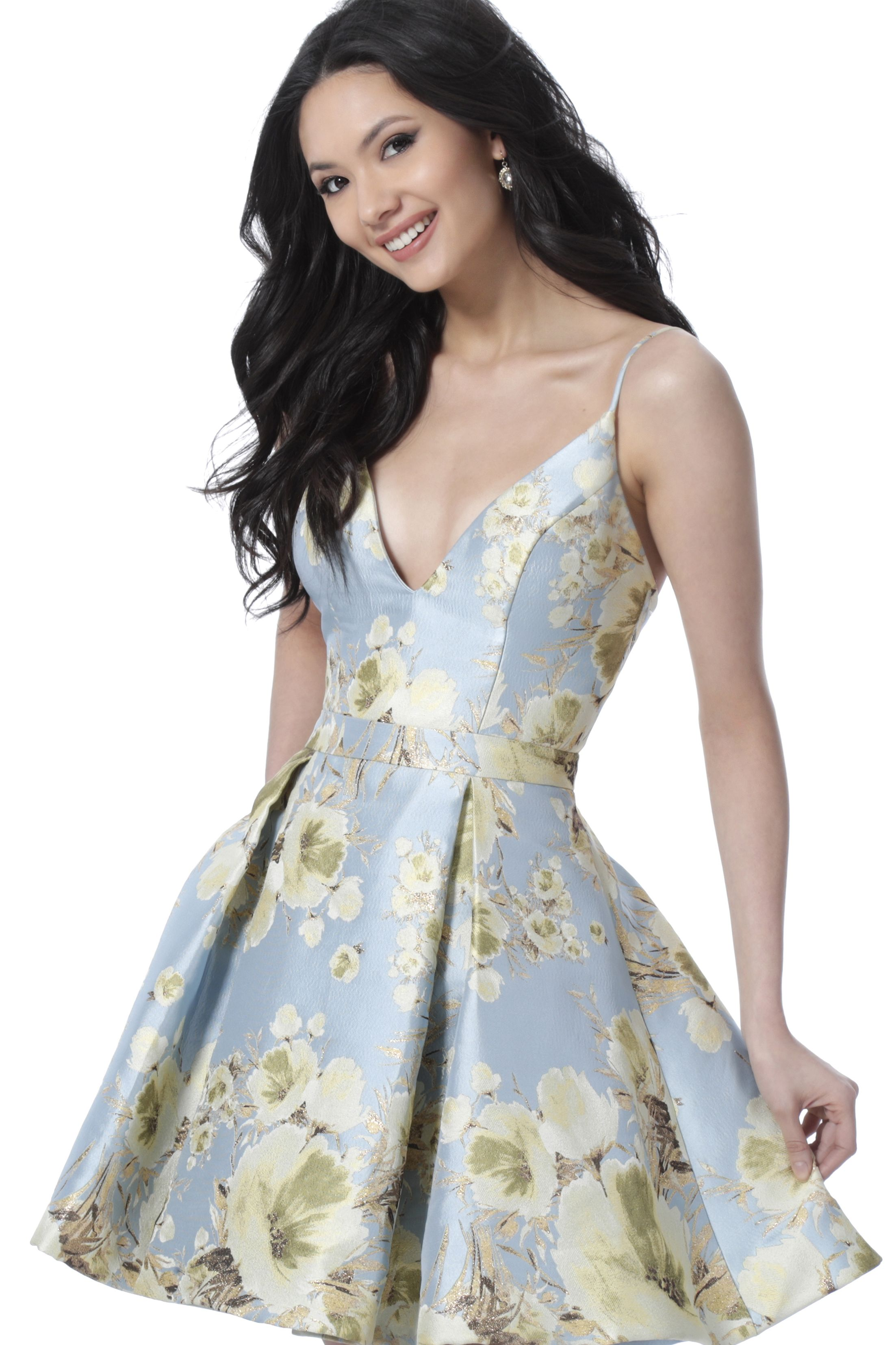 JVN by Jovani Spaghetti Strap Floral Printed Mikado Homecoming Dress