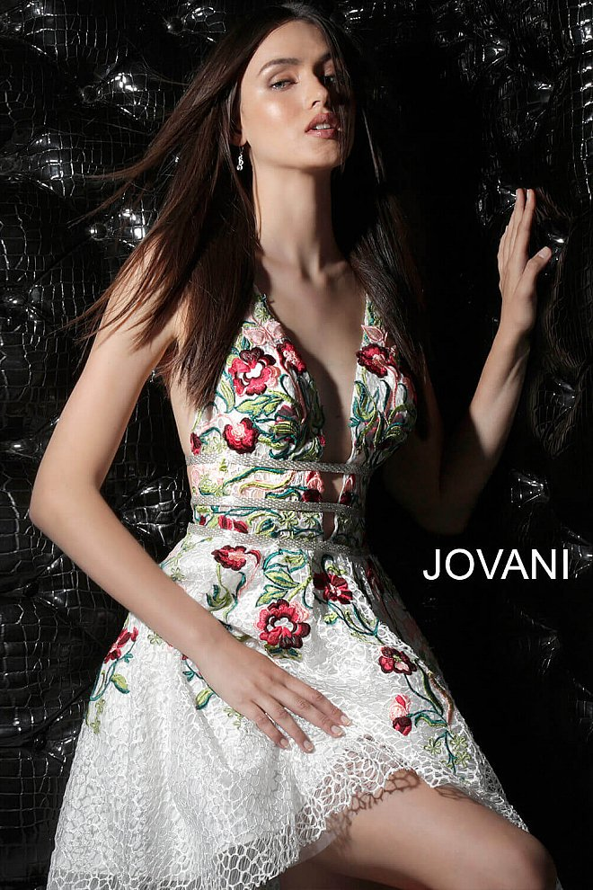 Jovani V-Neck Floral Embroidered Lace Homecoming Dress