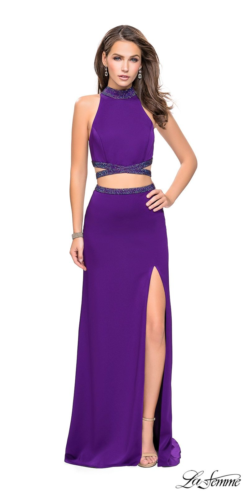 La Femme Two Piece High Neck Beaded Cutout Column Prom Dress