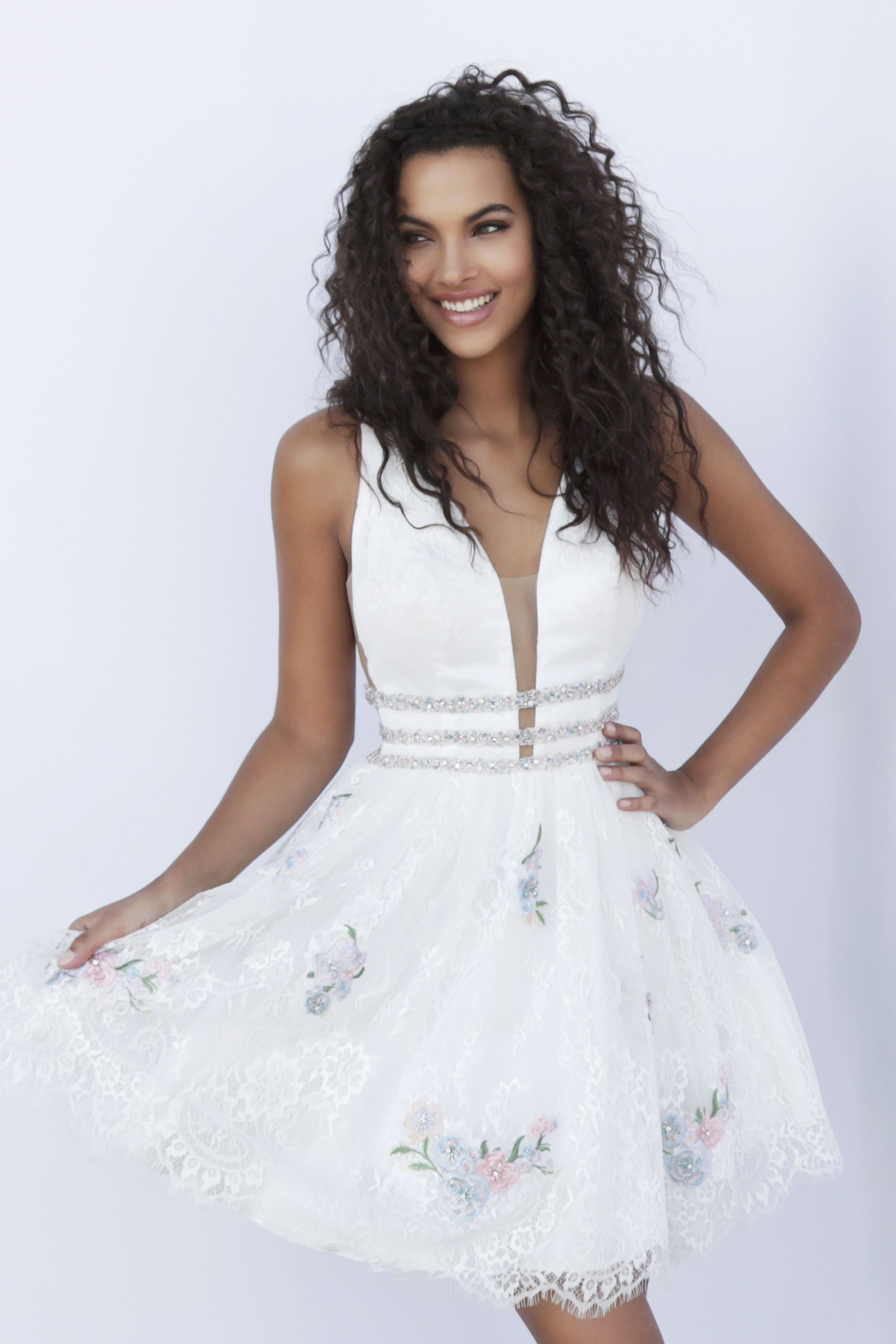 Jovani Plunging V-Neck Embroidered Lace Homecoming Dress