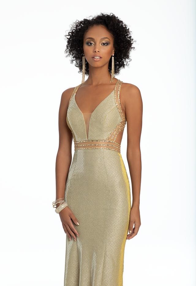 Camille La Vie Metallic Knit Illusion Dress