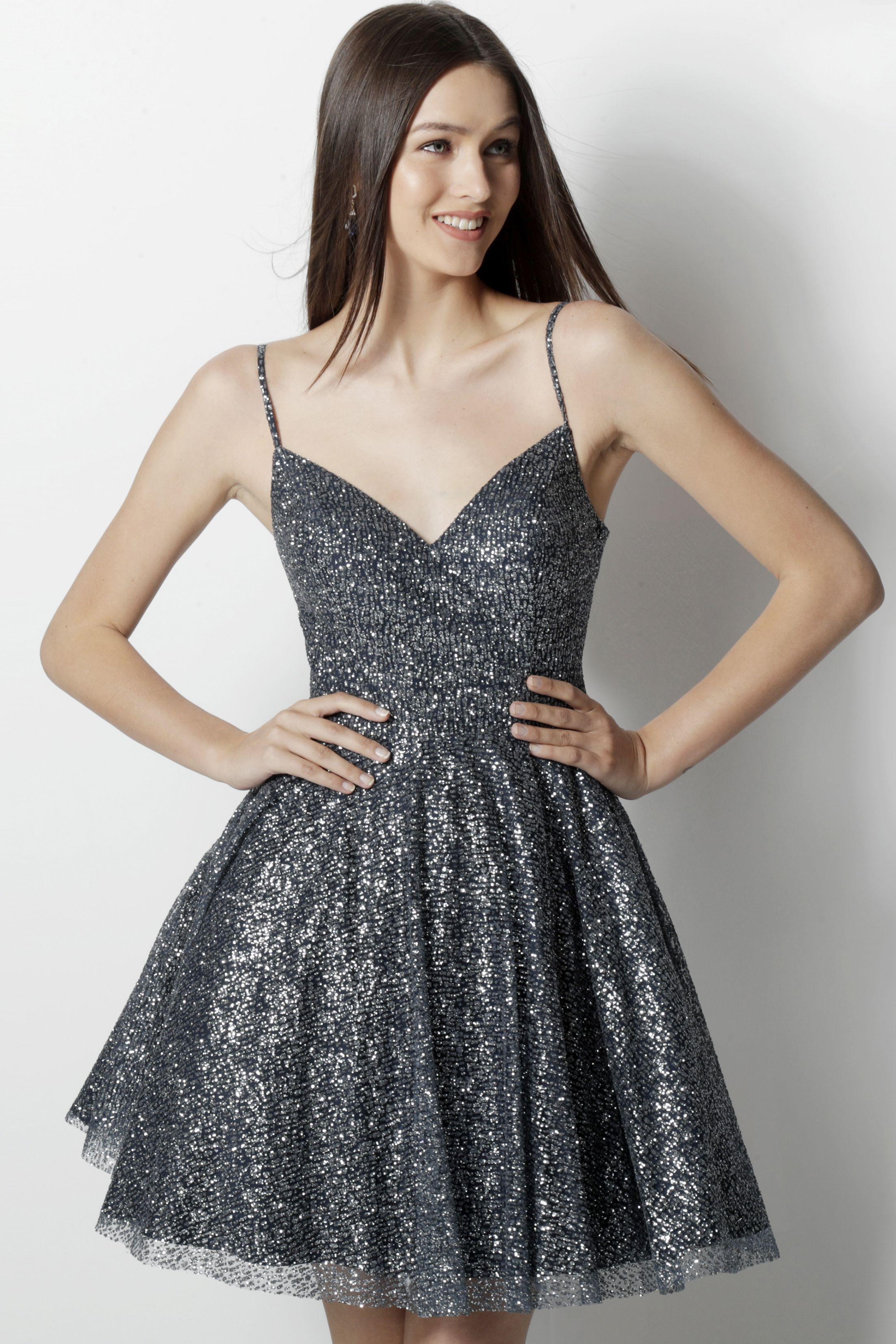 Jovani Sleeveless A-Line Glitter Tulle Homecoming Dress