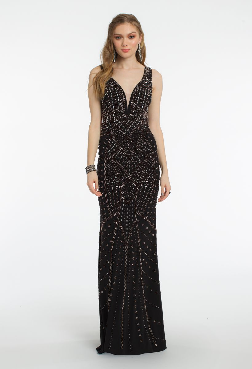 Camille La Vie Tank Illusion Plunging Neckline Beaded Dress