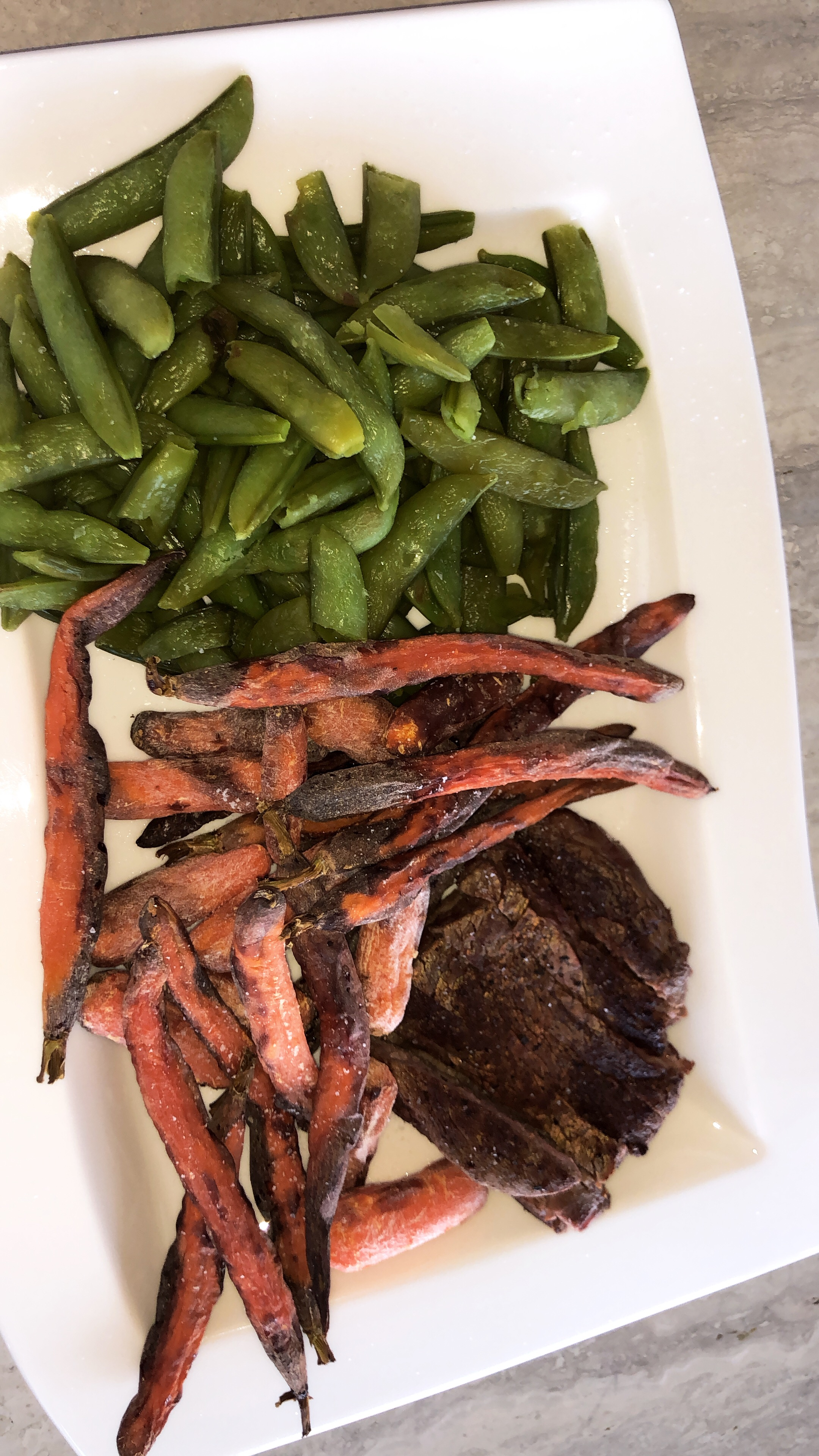 Steak with Air Fryer Carrots and Sugar Snap Peas