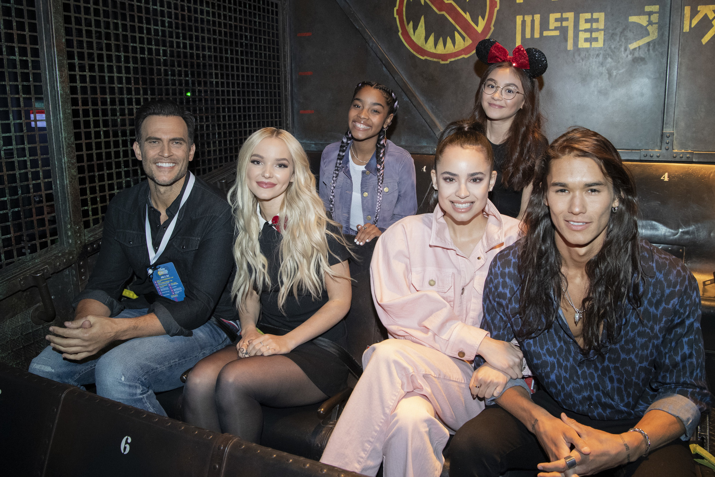 Back row: Marie and Anna Cathcart. Front row (from left): Cheyenne Jackson, Dove Cameron, Sofia Carson, and Booboo Stewart