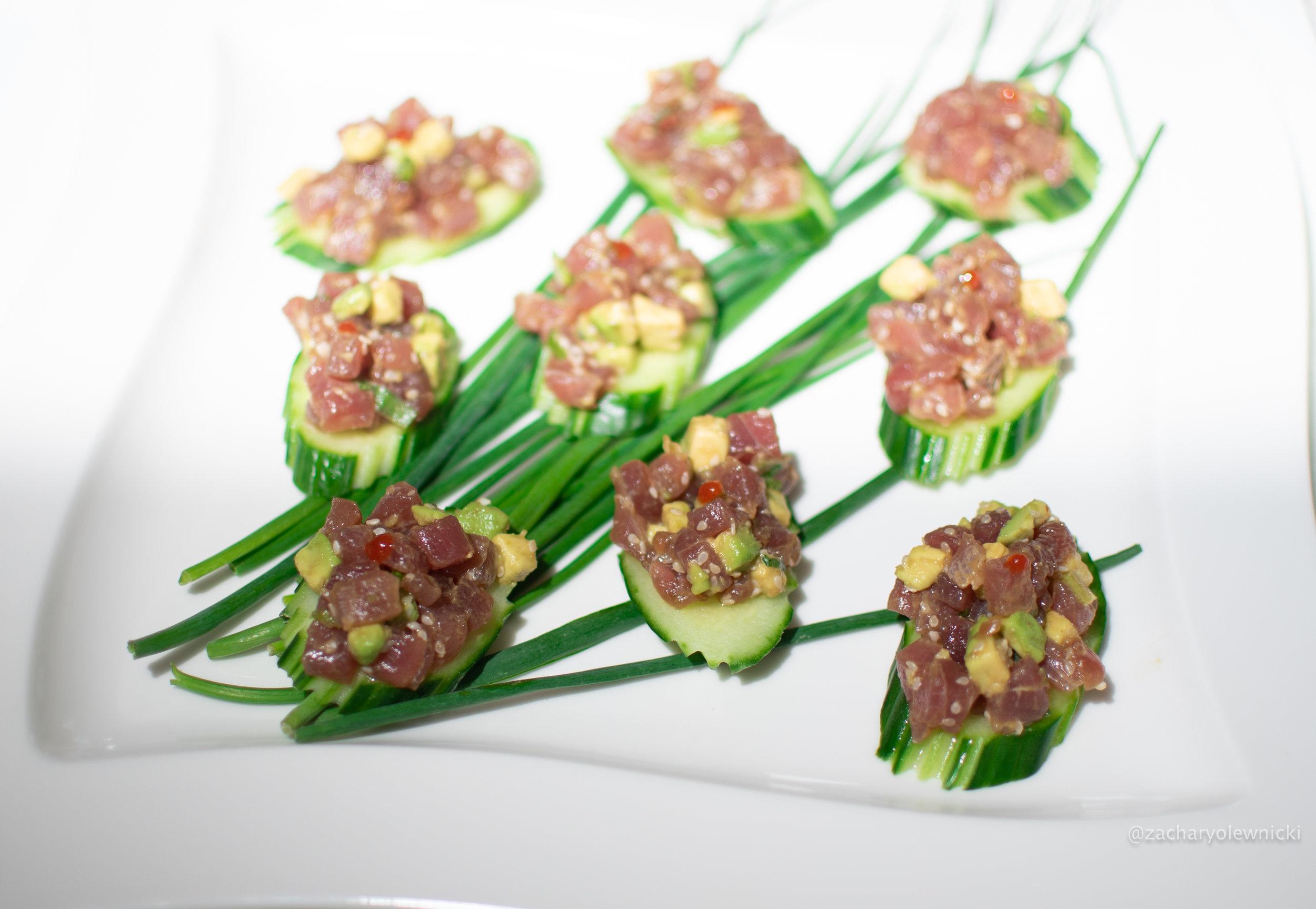 Tuna Tartar On Top of Cucumber