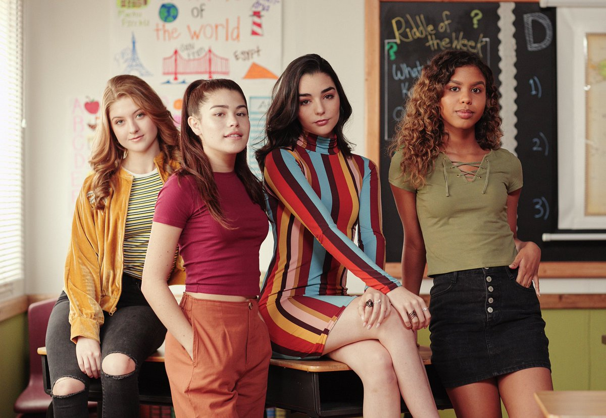 Marlhy (far left) with castmates Dylan Conrique, Indiana Massara, and Aliyah Moulden