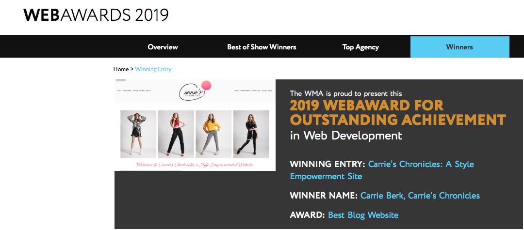 WEBAWARDS 2019 - Carrie's Chronicles has been presented with the 2019 award for outstanding achievement in web development!