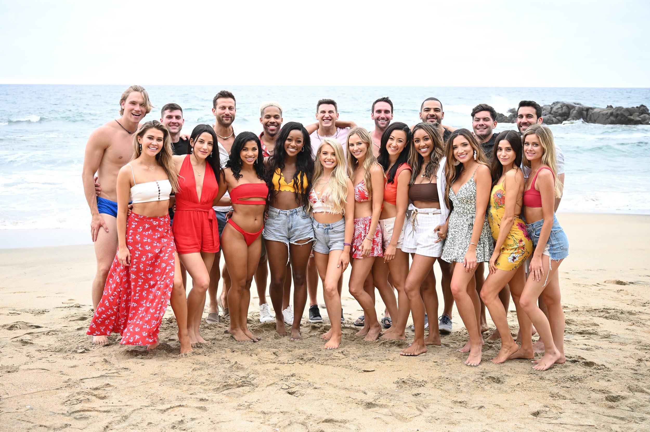 Jones (back row, far left) with the cast of Bachelor in Paradise Season 6