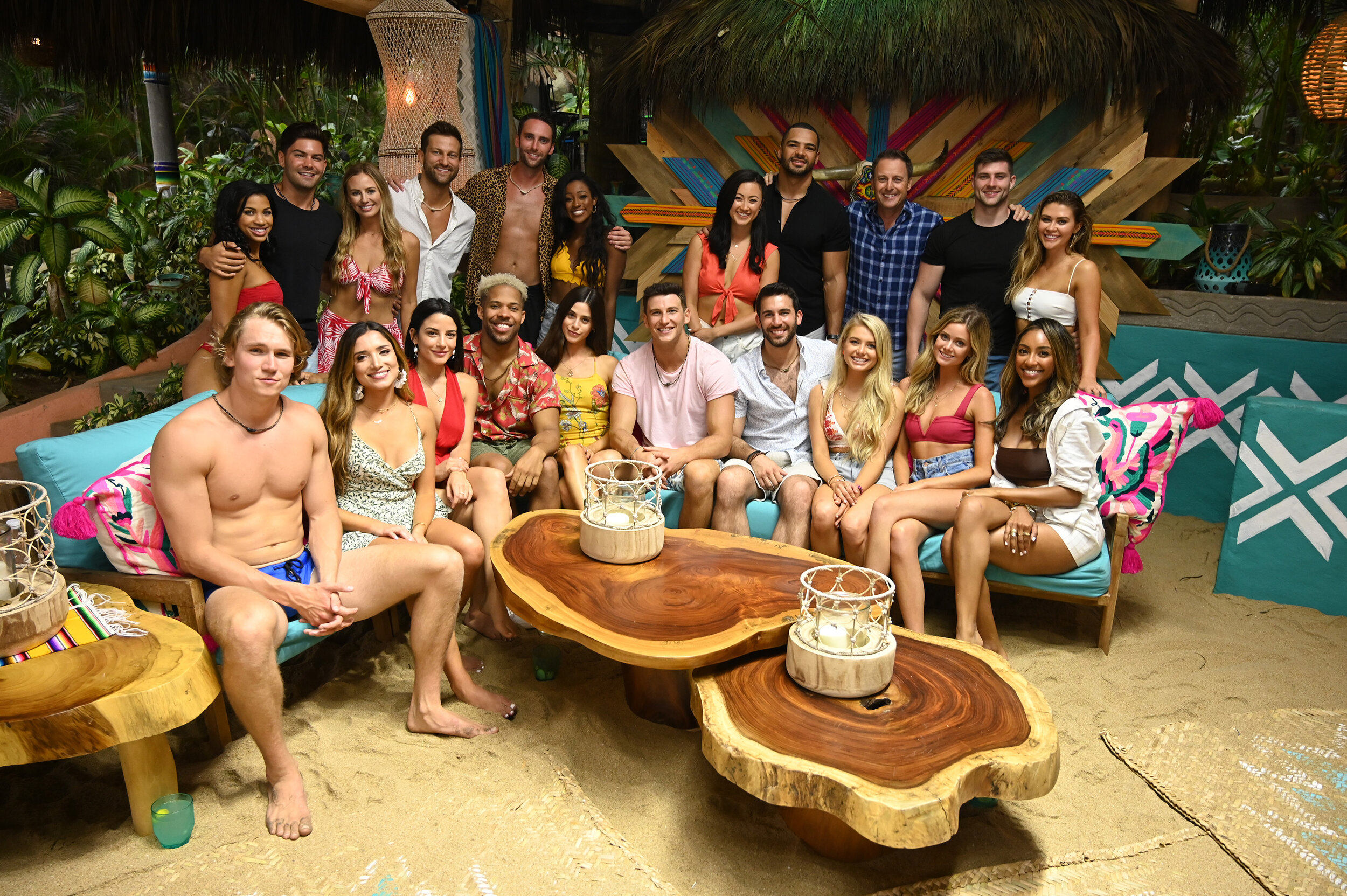 Jones (front row, far left) with the cast of Bachelor in Paradise Season 6