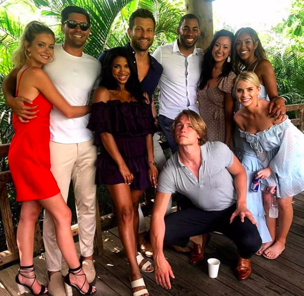 Ferguson (front row, far right) with the Bachelor in Paradise cast