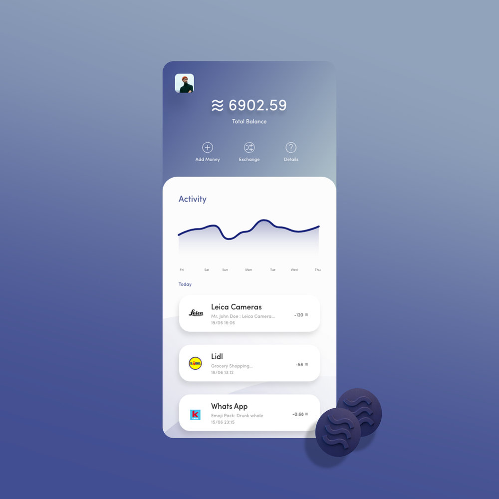 Libra wallet design   Initial Wallet Mock up for Libra, the new crypto launched by Facebook, We're always invested in educating users on the workings of new technology, the main focus is education always for on-boarding of a new tech project.