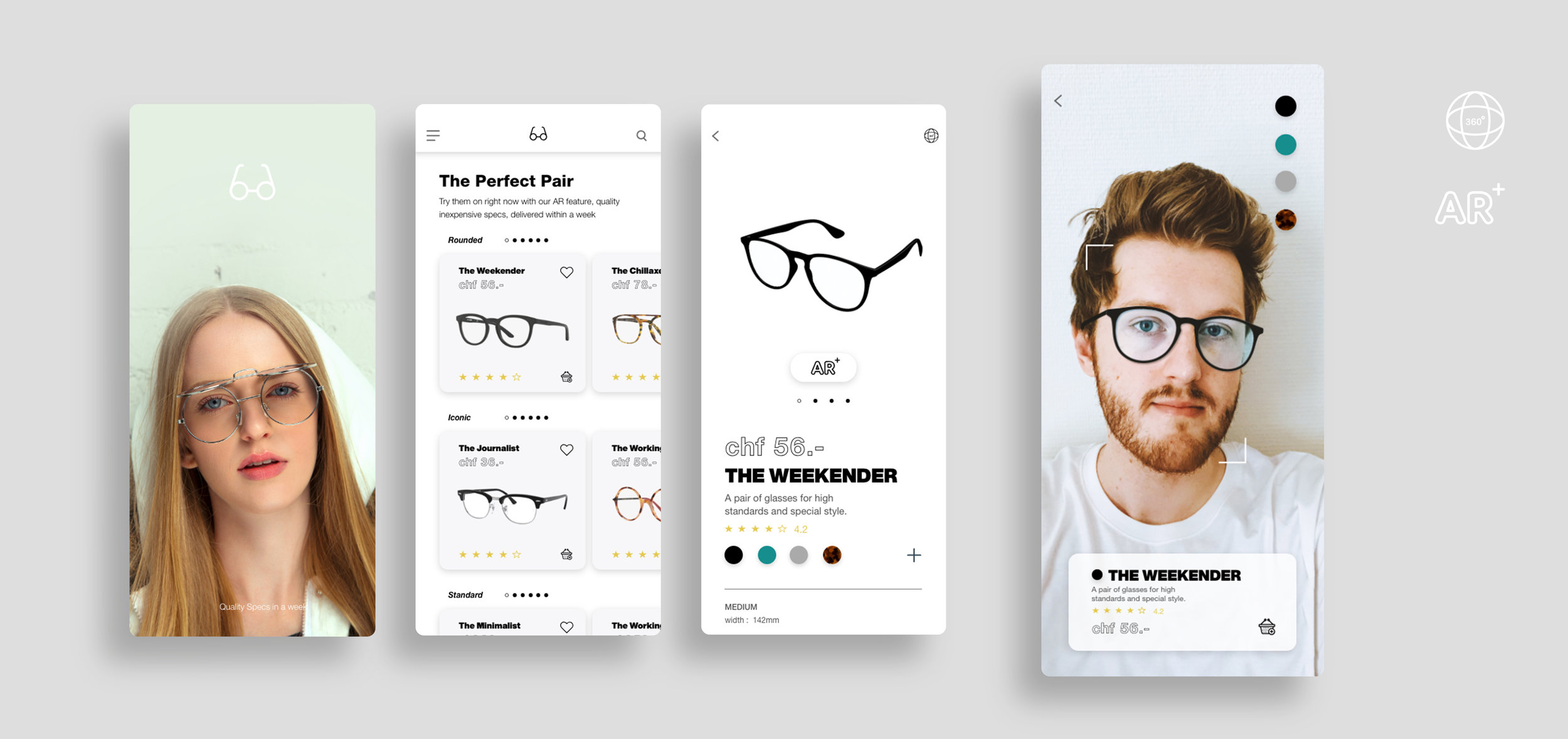 Glasses, Try the product with AR (augmented reality)   A Product select process which allows the users to test the glasses in AR.  This is the User experience and user interface design of such process, the interaction and testing is  vital for sales.