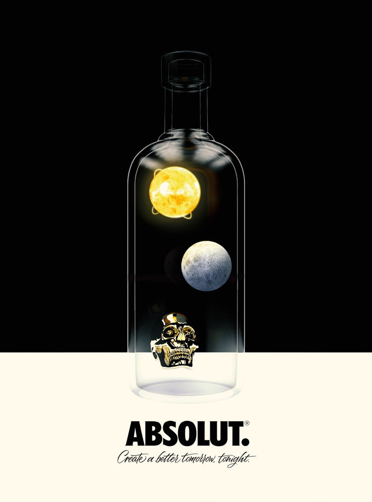 Absolut Vodka  Initial Design for The ''Absolut Create a better Tomorrow, Tonight'' Campaign. Our Inspiration is the knowledge that the everyone on Earth, and even the Earth itself is created from the same matter. ''We are All made of Star Dust''. If we all knew that the world would be a better place.