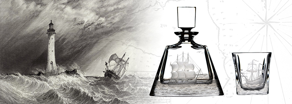 SAILOR COLLECTION - 100% Hadmade engraved Crystal Glasses & DecAnters