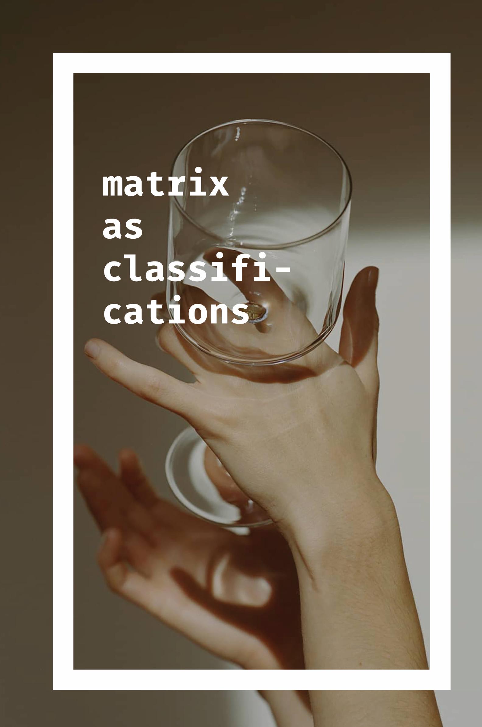 MATRIX AS CLASSIFICATION, 2016