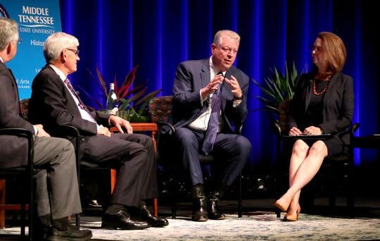 Former Vice President Al Gore discusses the political legacy of his father, Al Gore Sr., during a panel discussion Monday, Sept. 16, 2019, at MTSU. The panel also included Louis M. Kyriakoudes, Anthony J. Badger, Mary Evins and Kent Syler.   (Photo: HELEN COMER/DNJ)