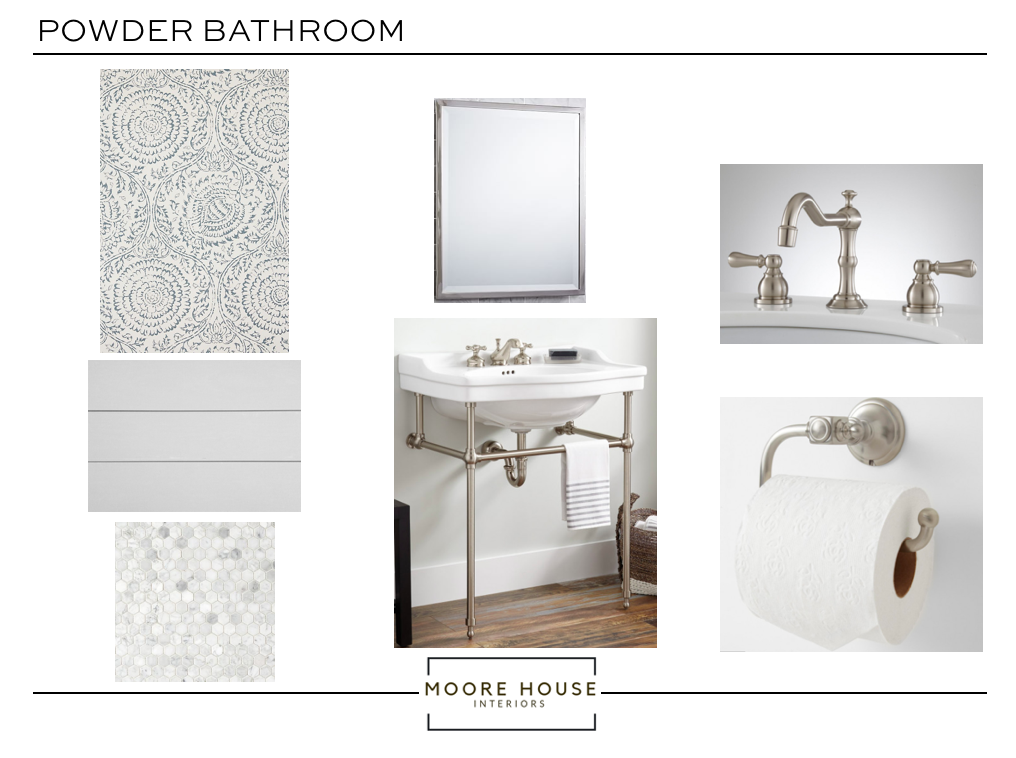 Wallpaper  |  Floor Tile  |  Leona Mirror  |  Sierra Console Sink  |  Stella Widespread Faucet  |  Vintage Euro TP Holder