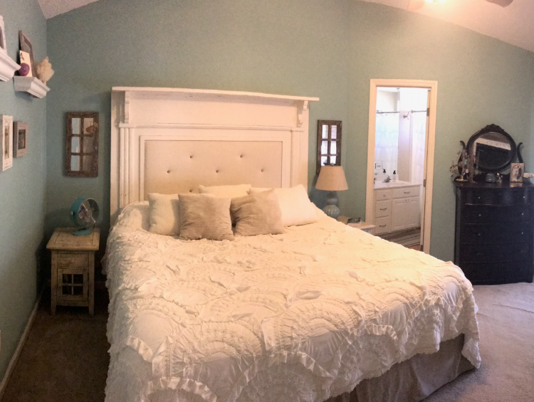 Make a Statement - Ditching the sleigh frame opens up the entire room. An oversize headboard is scaled to fit the vaulted ceiling, drawing your eye up and making the whole space feel more open. Another bonus? We no longer have to do an awkward side shuffle to get by each other.