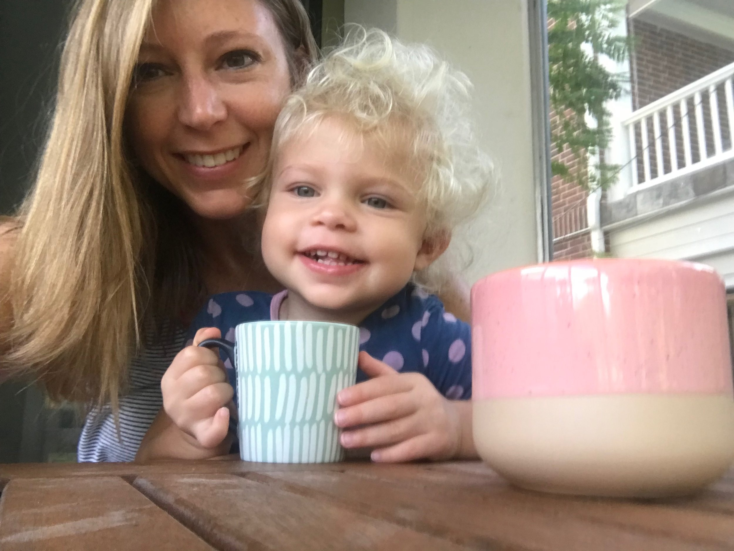 Enjoying a cup of coffee with my adorable niece