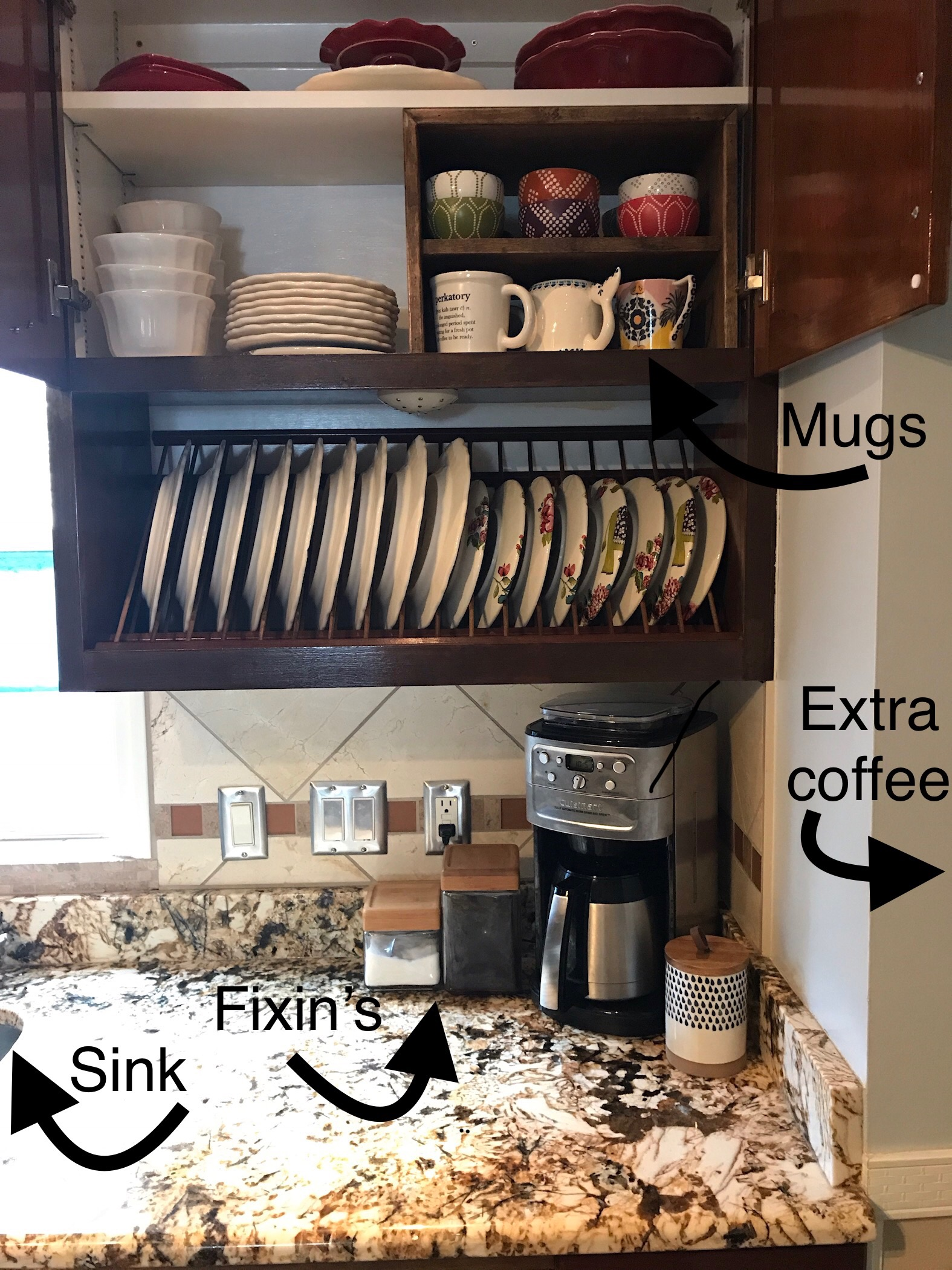 Having all of our coffee supplies in one place saves us time every morning and makes our small kitchen feel less crowded when we have company over.